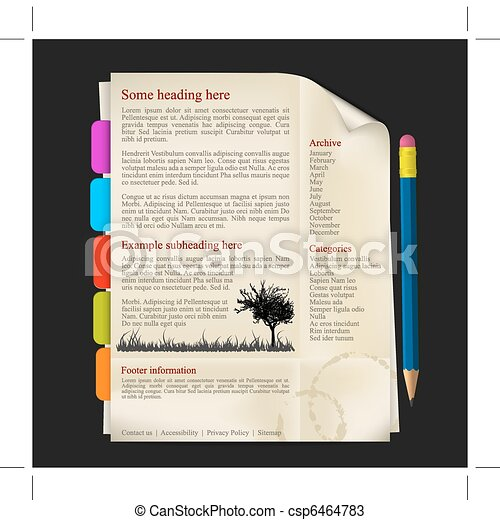 Web site template - sheet of paper - csp6464783