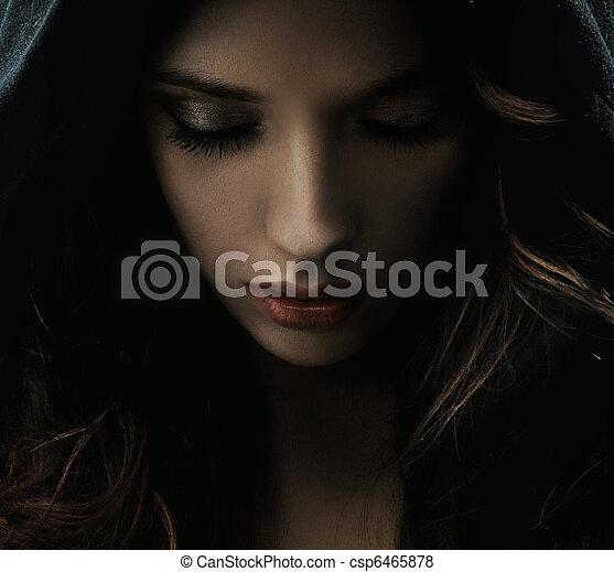 misterioso, retrato, mujer - csp6465878