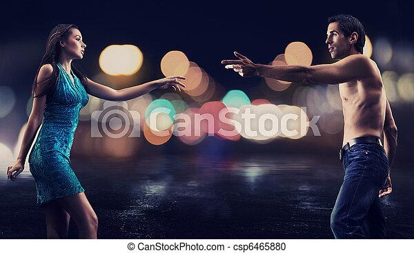 城市, 夫婦, 華麗, 街道, 背景, 夜晚, 在上方 - csp6465880