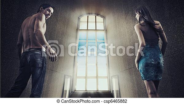 Gorgeous couple over night city street background - csp6465882
