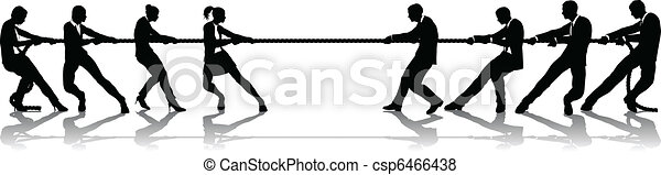 Women versus men business tug of war competition - csp6466438