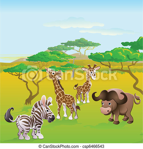 Cute African safari animal cartoon scene - csp6466543