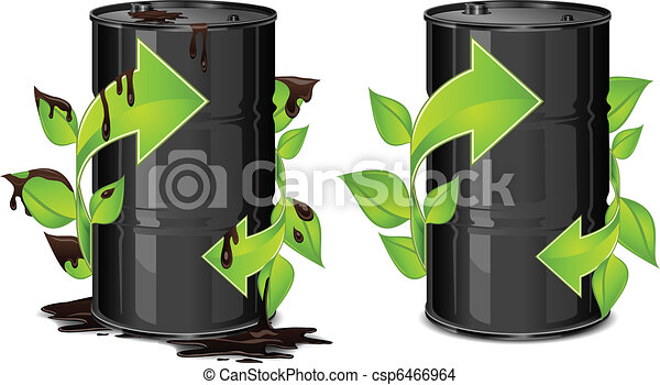 Oil barrels with arrow - csp6466964