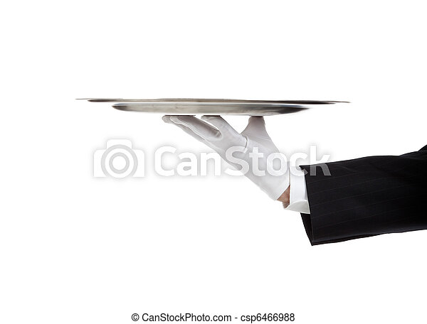 Gloved hand holding a silver tray - csp6466988