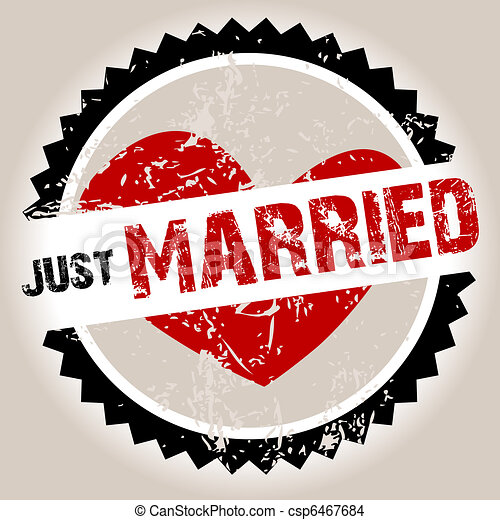 Grunge stamp with heart and Just Married - csp6467684