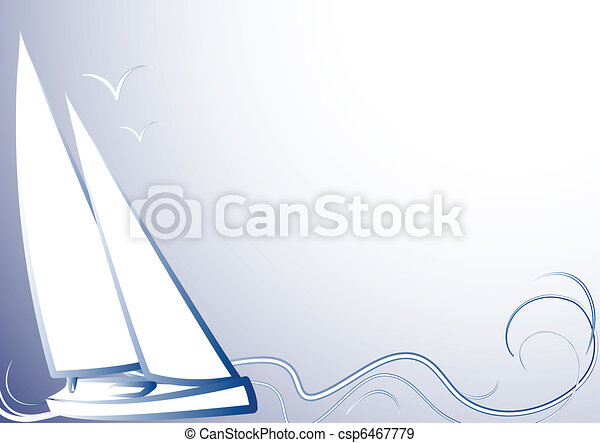 Blue background with a yachtBlue ba - csp6467779