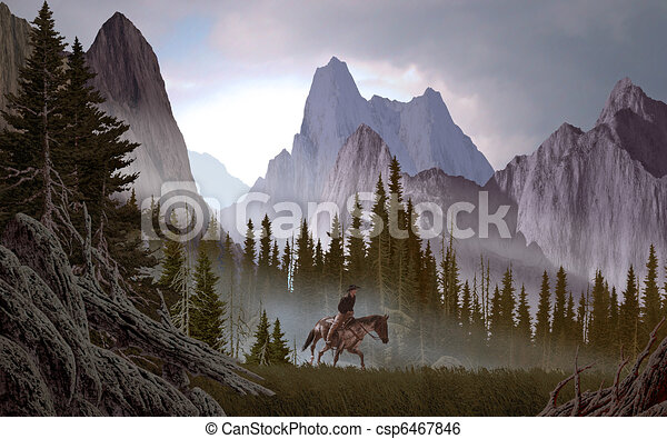 Cowboy In The Rockies - csp6467846