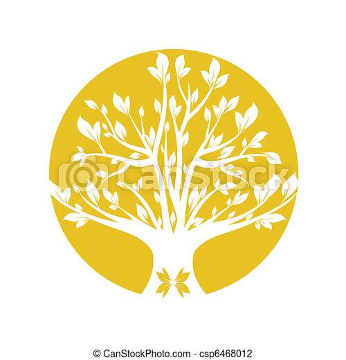 Vector Illustration of Yellow tree - Abstract yellow art ...