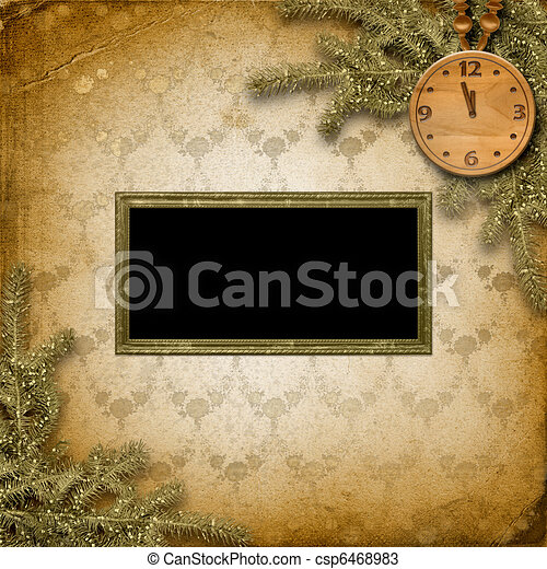 Antique clock face with and firtree on the abstract background - csp6468983