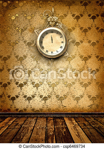 anticaglia, stanza, orologio, parete, faccia, laccio - csp6469734