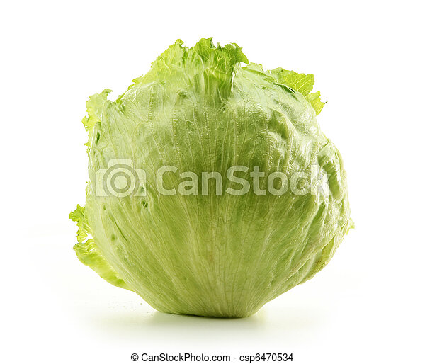 Crisphead, Iceberg, Lettuce isolated on white - csp6470534