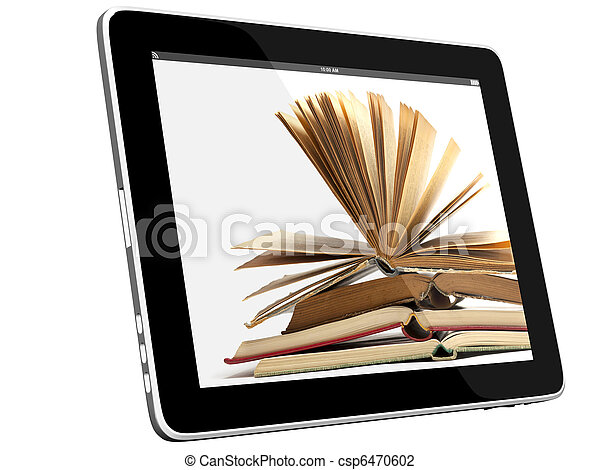 Books on iPad 3D concept - csp6470602