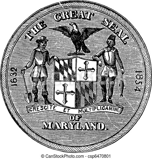 Great Seal of the State of Maryland, United States, vintage engraving - csp6470801
