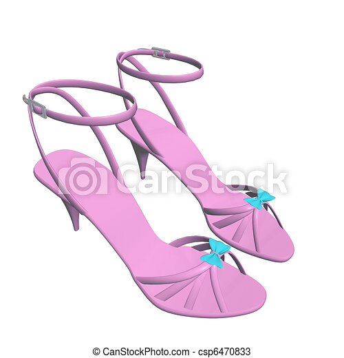 Pink stilleto heels or hig heels shoes with ankle strap and blue ribbon, 3D illustration, isolated against a white background - csp6470833