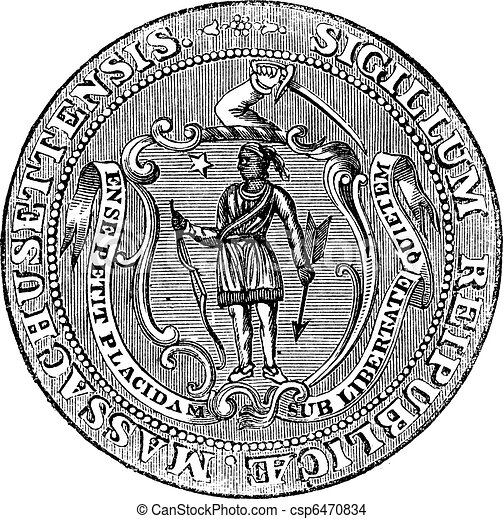 Great Seal of the Commonwealth of Massachusetts or the Seal of the Republic of Massachusetts, United States, vintage engraving - csp6470834
