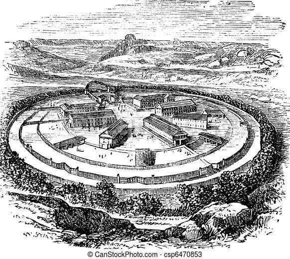 Dartmoor Prison in England, United Kingdom, vintage engraving - csp6470853