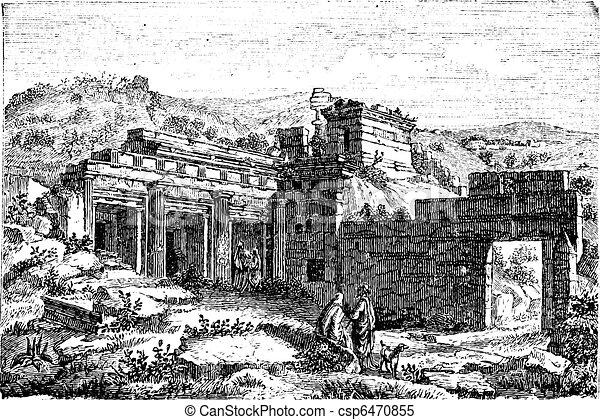 Ruins of Cyrene, in Shahhat, Libya, vintage engraving - csp6470855