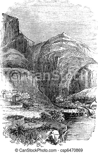 Delphi in Greece, vintage engraving - csp6470869