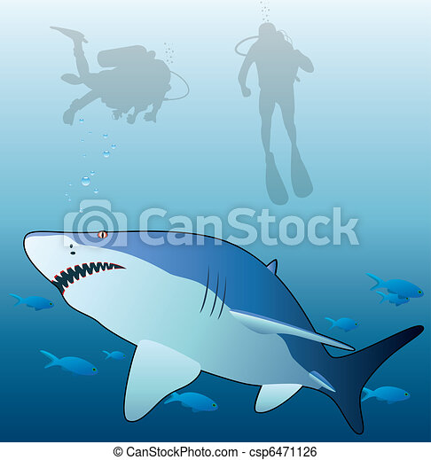 shark, tropical fishes and scuba divers  - csp6471126