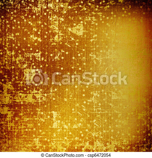 Abstract ancient background in scrapbooking style with gold ornamentat - csp6472054