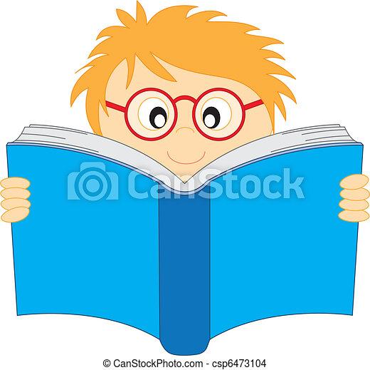 EPS vector de feliz, niño, lectura, libro - feliz, niño, lectura ...
