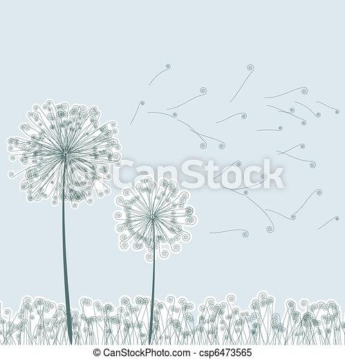 Vintage two dandelions in wind. EPS8 - csp6473565