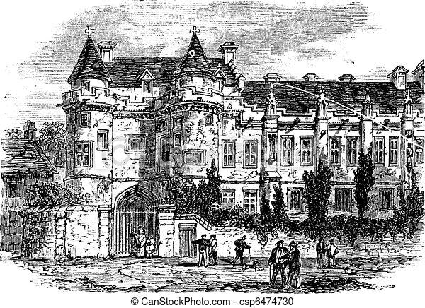 Falkland Palace in Fife, Scotland, United Kingdom, vintage engraving - csp6474730