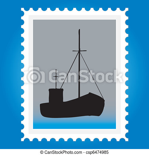 Postage stamps with ships - csp6474985