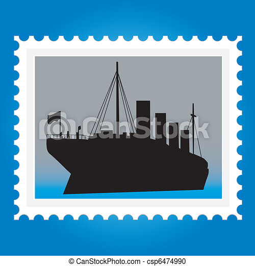 Postage stamps with ships - csp6474990