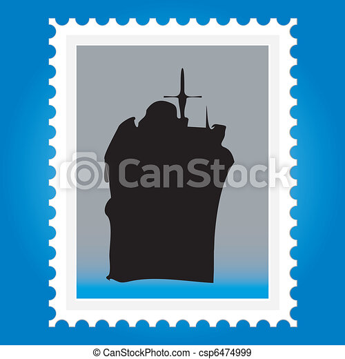 Postage stamps with ships - csp6474999