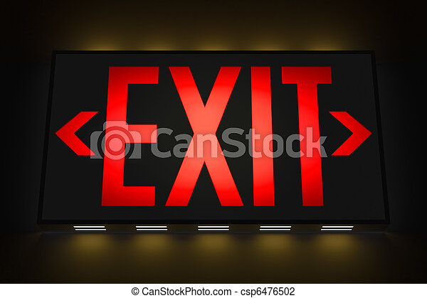 Emergency Exit Sign in the Dark - csp6476502