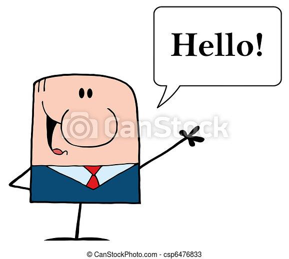 Cartoon Doodle Businessman Waving - csp6476833
