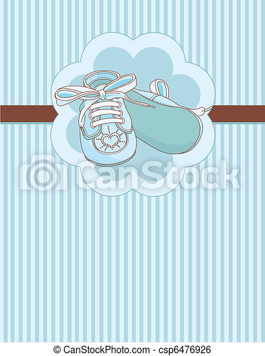 Blue baby shoes place card - csp6476926