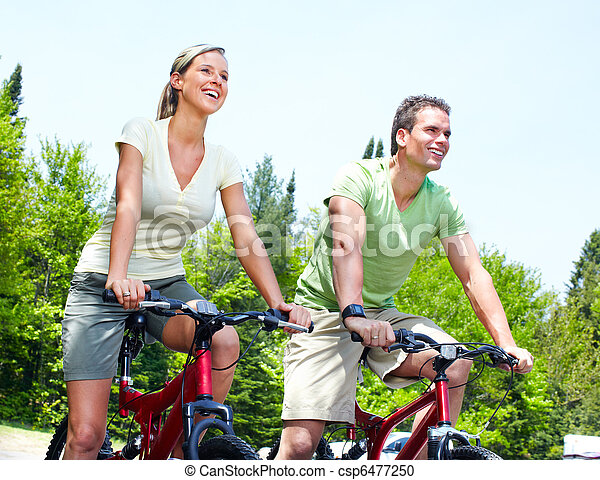 Riding couple. - csp6477250