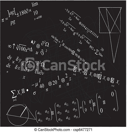 close up of math formulas on blackboard - csp6477271