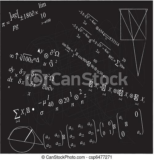 close up of math formulas on blackboard - csp6477271