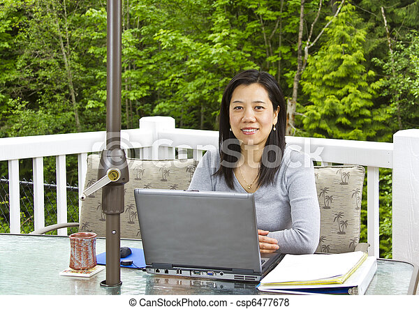 Plaatjes van dame werkende thuis buiten terras aziaat dame csp6477678 zoek naar - Buiten terras model ...