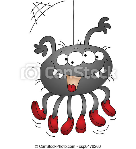 Halloween cartoon spider  - csp6478260