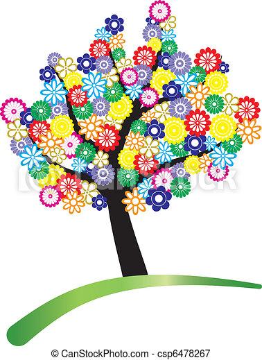 Illustrazioni vettoriali di fiore albero albero for Fiori stilizzati colorati