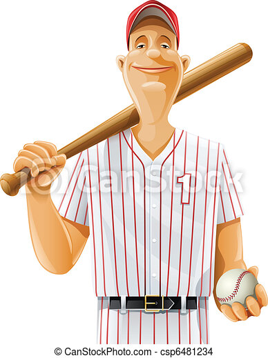 baseball player with bat and ball - csp6481234