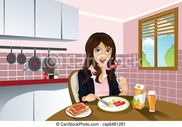 Woman eating breakfast - csp6481281