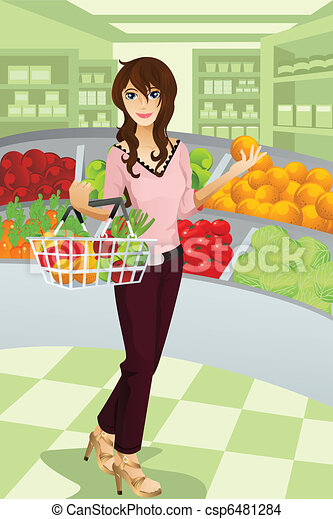 Woman shopping grocery - csp6481284