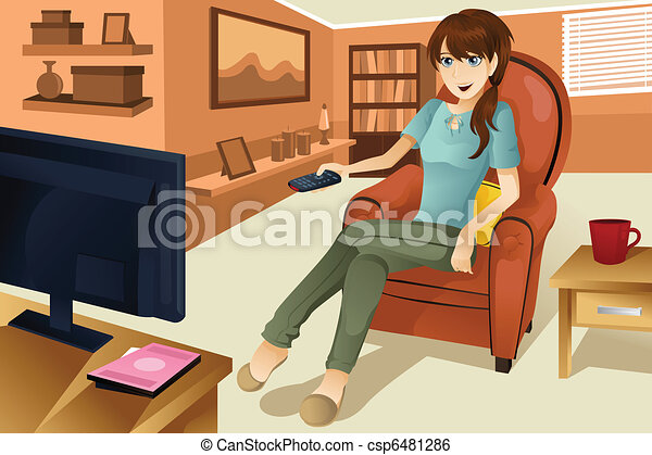 Woman watching television - csp6481286