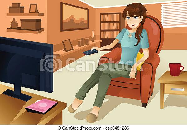 Woman watching television - csp6481286