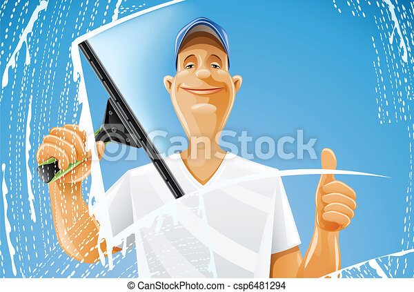 man cleaning window squeegee spray - csp6481294