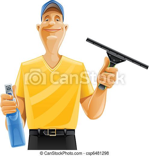 man cleaning window squeegee spray - csp6481298