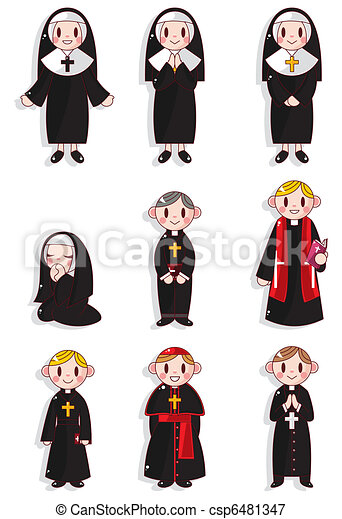 cartoon Priest and nun icon set - csp6481347