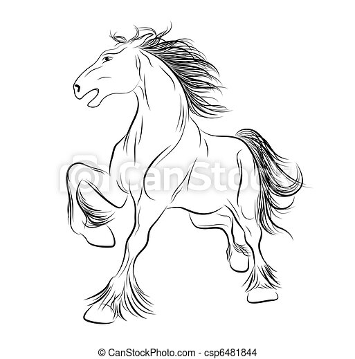 Vector image a horse, tattoo - csp6481844