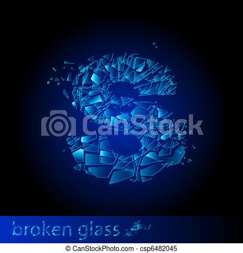 One letter of broken glass - csp6482045