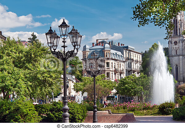 Central park with a fountain. Europe, Germany, Baden-Baden.  - csp6482399